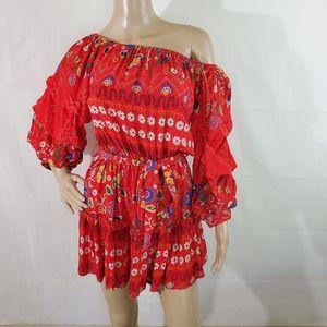 JAASE Red Floral Off-Shoulder Tiers Mini Dress